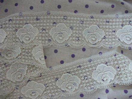 Exclusive English Nottingham Cotton Cluny Lace Vintage style - Ecru FC268